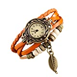 Clara  Brown Retro Weave Wrap Lady Perle Blatt baumeln Armband Armreif Quarz-Armbanduhr (Orange)