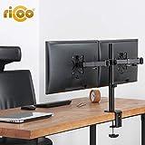 RICOO Monitor Halterung für 2 Monitore TS6711 für 13'-27' Zoll (ca. 33-69cm) Schwenkbar Neigbar Monitorhalterung Tisch Tischhalterung Monitorständer Bildschirmständer | VESA 75x75 100x100 | Schwarz