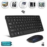 Schwarz Hochwertiges Tastatur- und Mäuseset, Tastatur und Maus Set, Fernbedienung, einfache Steuerung, Easy Connect, Batterien enthalten für Hitachi 50HYT62U 50 Inch Full HD Smart TV