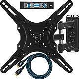 Ceetah ALAMLB Wandhalterung für Fernseher, Bildschirmdiagonale 20-55 Zoll (50,8-139,7 cm), bis VESA 400 und 30 kg, Twisted Veins HDMI Kabel 3 m und 3-achsige magnetische Wasserwaage 15 cm