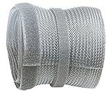 RICOO Kabelkanal Kabelschlauch Z9135G-2 Kabelhalter Kabelmanagement Kabelbinder Klettverschluss Kabeldurchführung Kabel Organizer Klettband Verstecken / 2m Silber Grau